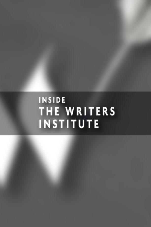 Grayscale blurred, close up image of the Writers Institute logo with the Inside the Writers Institute logo treatment on top