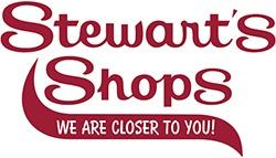 Stewart's Shops logo in red script font with the words WE ARE CLOSER TO YOU! in white on a red wave below