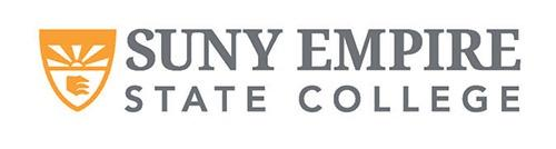 SUNY Empire State College Logo with SUNY EMPIRE stacked on top of STATE COLLEGE in blue with a yellow shield emblem to the left