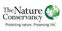 The Nature Conservancy Logo in black serif font with the words Protecting nature, Preserving Life below with a green sphere and white leaves to the right