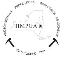 The Hudson-Mohawk Professional Geologists Association logo with their name in a circle outline and the letter HMPGA in the middle on an outlined New York State with a star on the capital