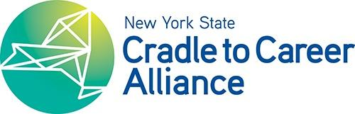 New York State Cradle to Career Alliance logo in blue, sans serif font with a green and yellow circle with blue New York state outline