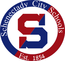 Schenectady City Schools Logo in blue and red with an S in the middle of a circle and the words Schenectady City Schools Est. 1854 around the circle