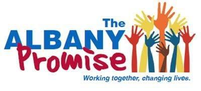 The Albany Promise Logo in blue and red type with multi-colored hand illustrations reaching upward on the right