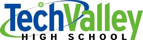 Tech Valley High School Logo in blue, green and black with an orbiting element
