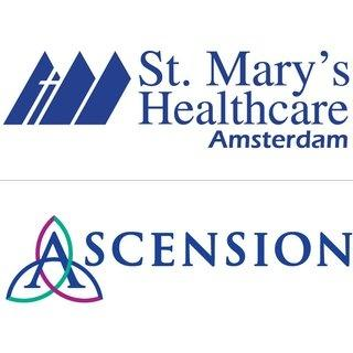 St. Mary's Healthcare Amsterdam Logo in dark blue with a cross logo mark to the left, below is a gray horizontal line with the Ascension logo beneath in dark