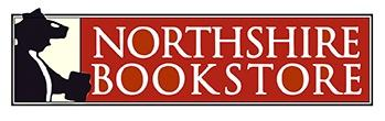 Northshire Bookstore Logo - white writing on maroon background with black border and silhouette of a person with a hat on and book in their hand