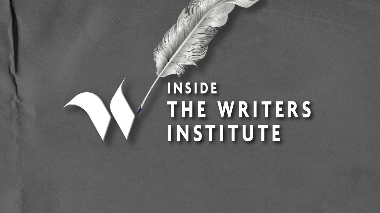 The main title graphic for the Inside The Writers Institute documentary. The image is in black and white and features a quill pen and a script-style letter 'W'.