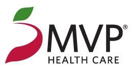 MVP Health Care Logo with black text and a red and green emblem to the left that resembles an apple