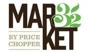 Market 32 logo with black text and green leaf emblem in the shape of the number 32 with gold text that says: by Price Chopper