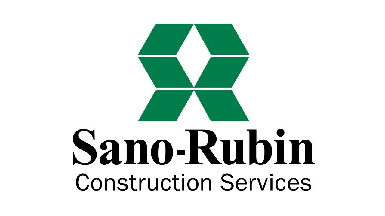 The Sano-Rubin Construction Services logo featuring a green logo element and black serif and sans-serif type.