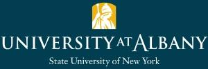 University at Albany Logo in white on a blue background with the words State University of New York below