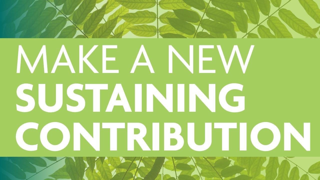 Image of a fern with a green transparent overlay and a lime green banner with the words Make A New Sustaining Contribution in a white, sans serif font