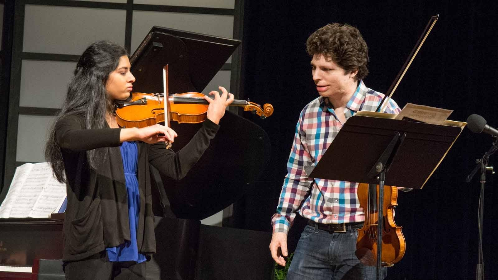Earlier in the day Augustin Hadelich took part in a masterclass working with Buffalo Suzuki Strings student Arya Pindapralu.