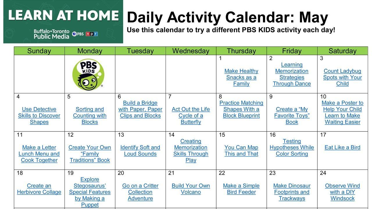 Daily Activity Calendar May