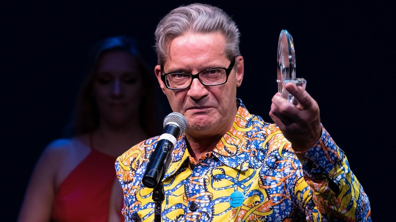 Jimmy Janowski winning Best Leading Actor in a Play for The Absolute Brightness of Leonard Pelkey, Buffalo United Artists