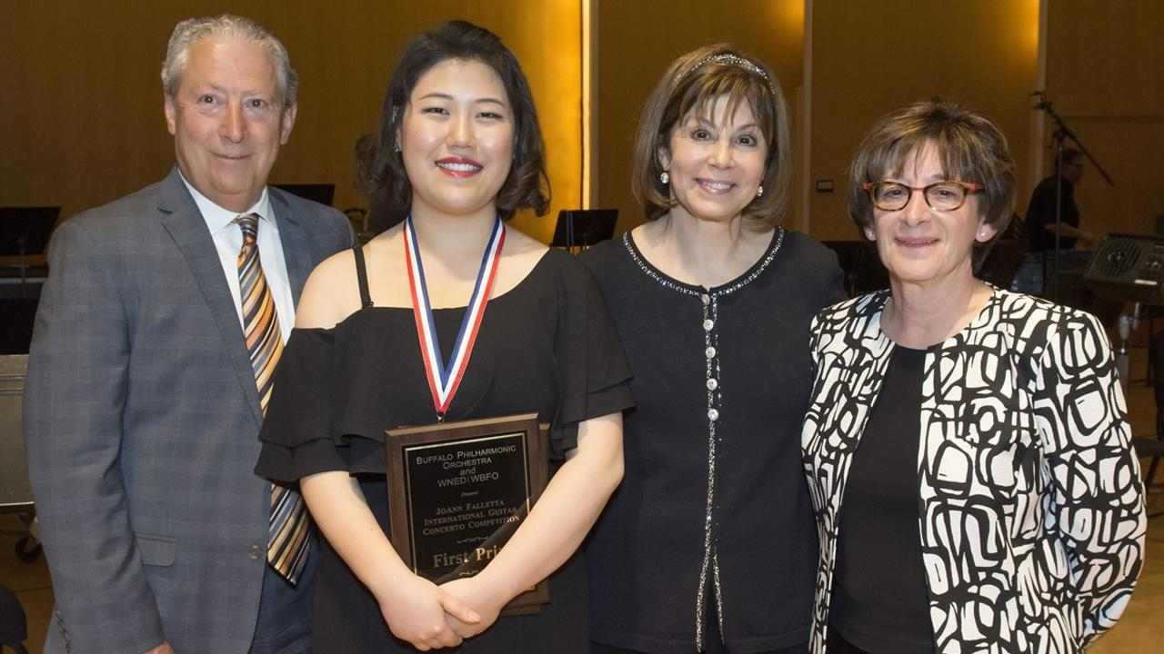 Bokyung Byun and Joann Falletta with Competition Artistic Directors and judges Joanne Castellani and Michael Andriaccio.