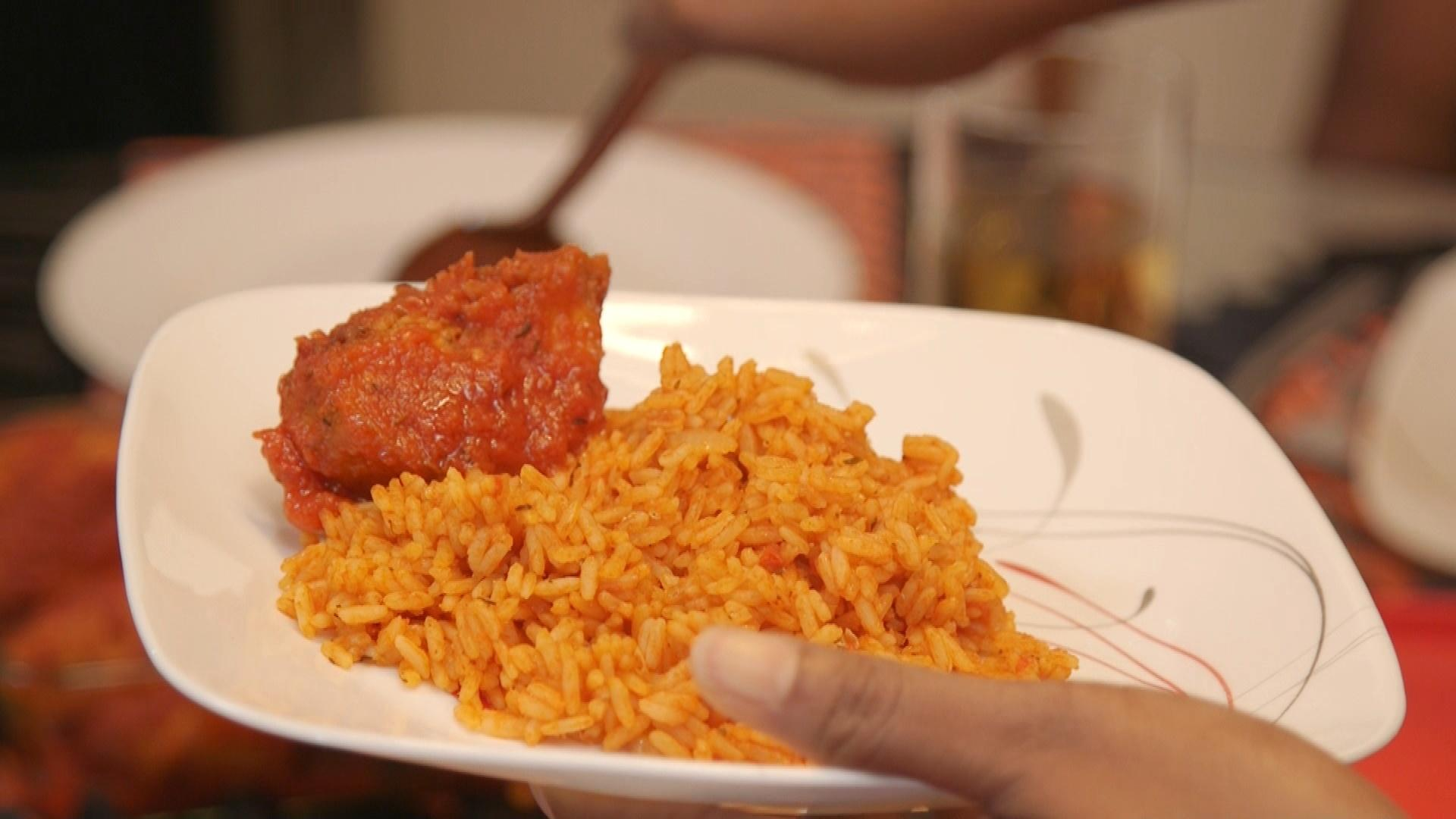 Nigerian Jollof RIce on dinner plate