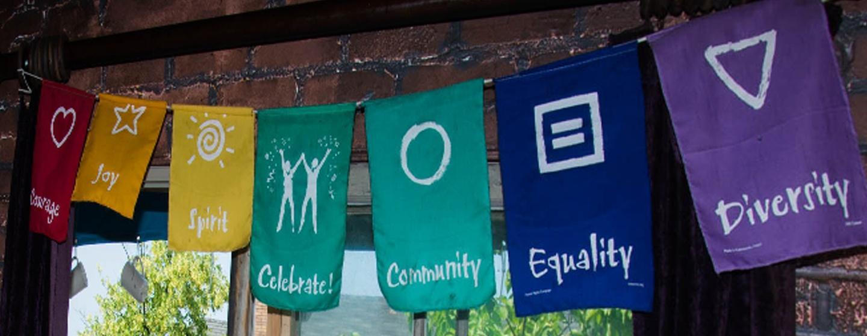 Banner _ Courage, Joy, Spirit, Celebrate, Community, Equality, Diversity