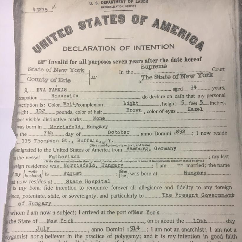 Declaration of Intention