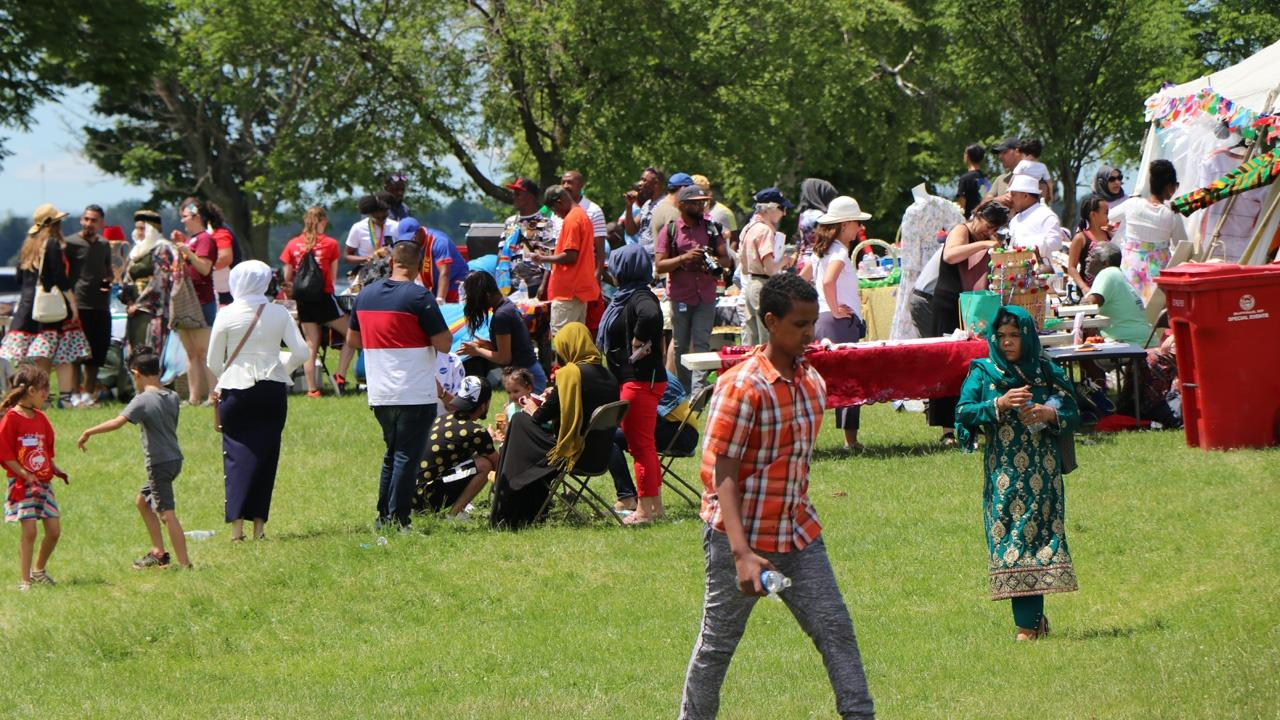 crowds enjoying Buffalo's World Refugee Day celebrations