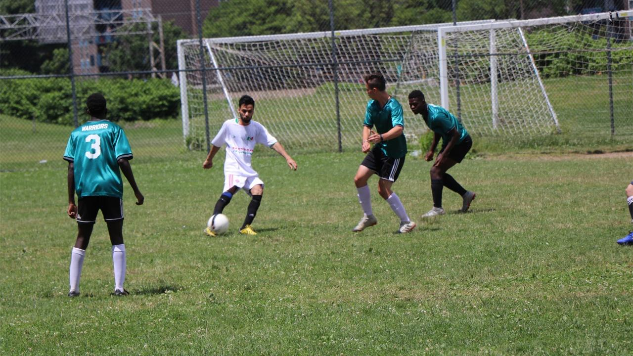 soccer match at Buffalo's World Refugee Day celebrations