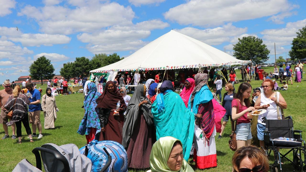 Crowds gathered at Buffalo's World Refugee celebrations in LaSalle Park