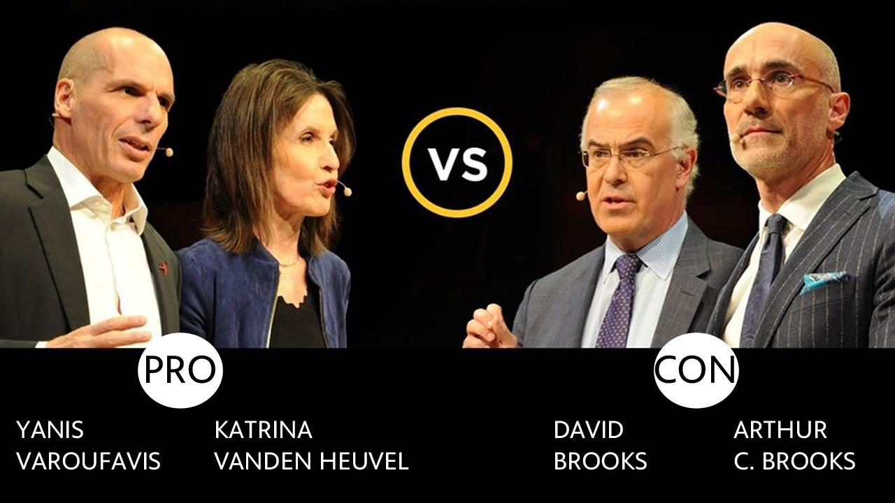 Munk Debate  featuring Yanis Varoufavis, Katrina VandenHeuvel, David Brooks and Arthur C. Brooks