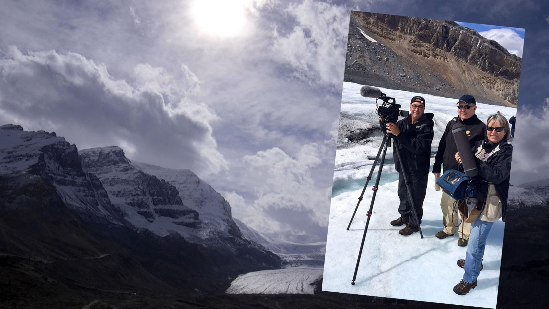 Videographer Jim Zinkowski, Producer John Grant and Sound Recordist Tami Coleman on location at the Athabasca Glacier for Canadian Rockies by Rail.