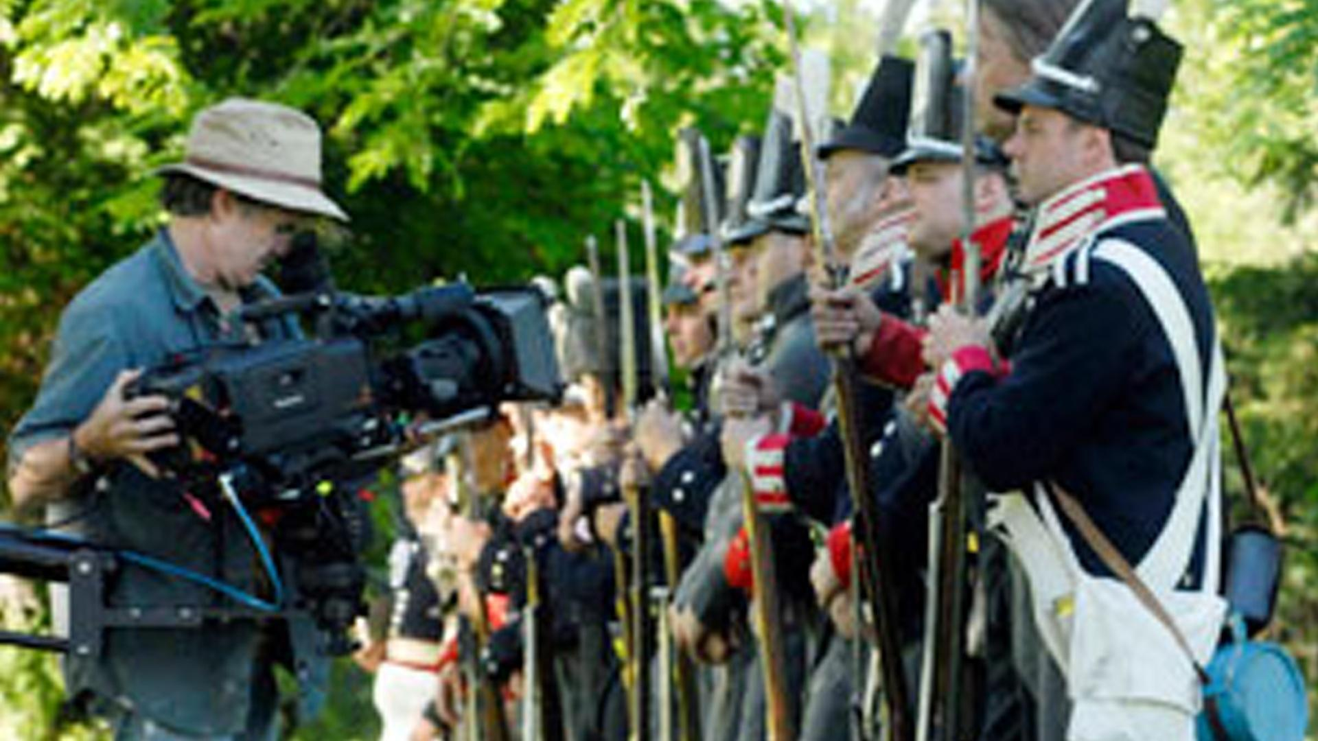 Cinematographer Stephen McCarthy sets up for a shot for The War of 1812.