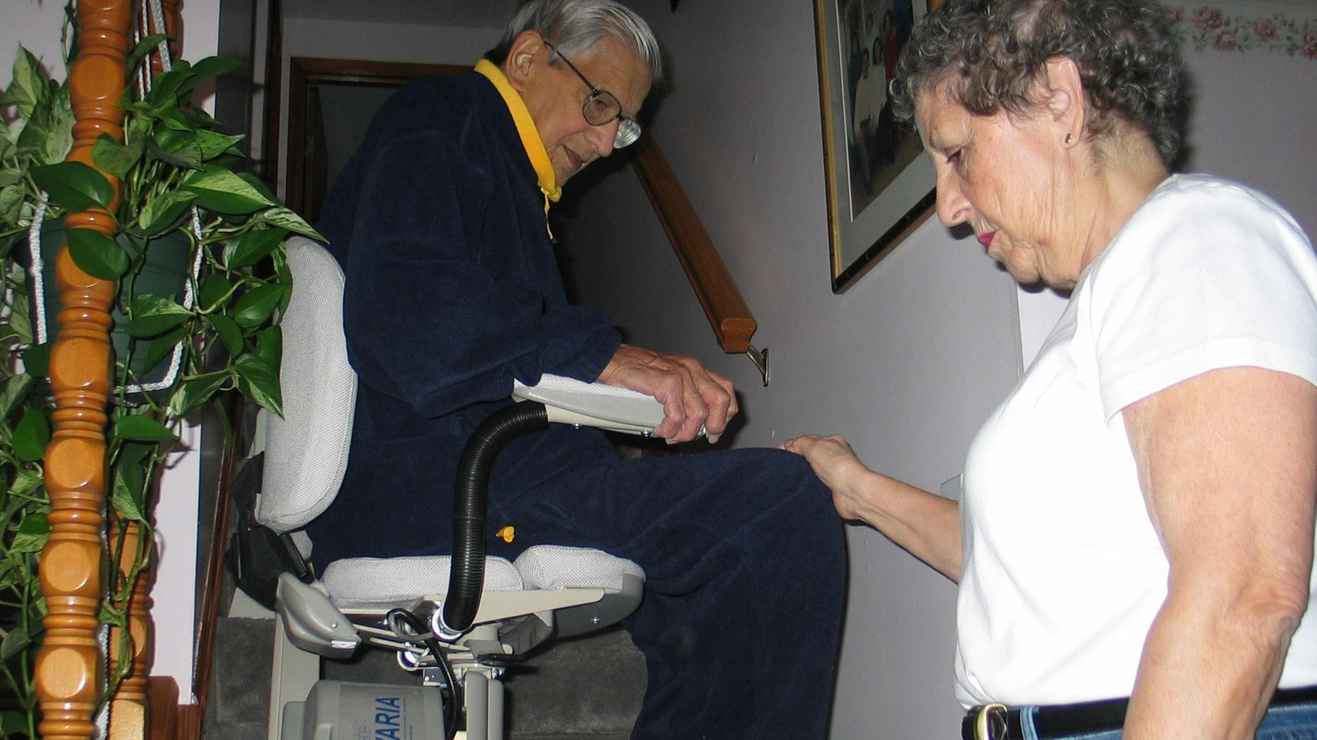 Eldery couple installed a lift to help them get upstairs