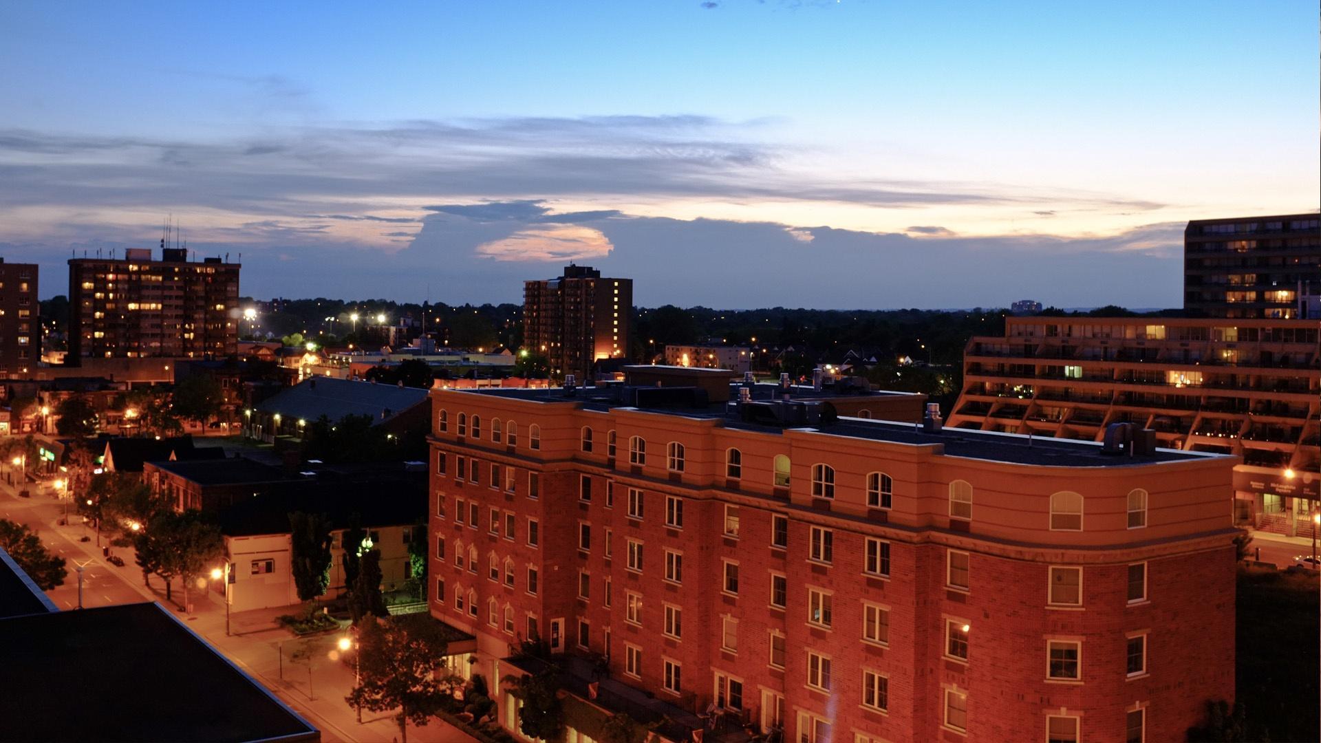 Oshawa cityscape at night
