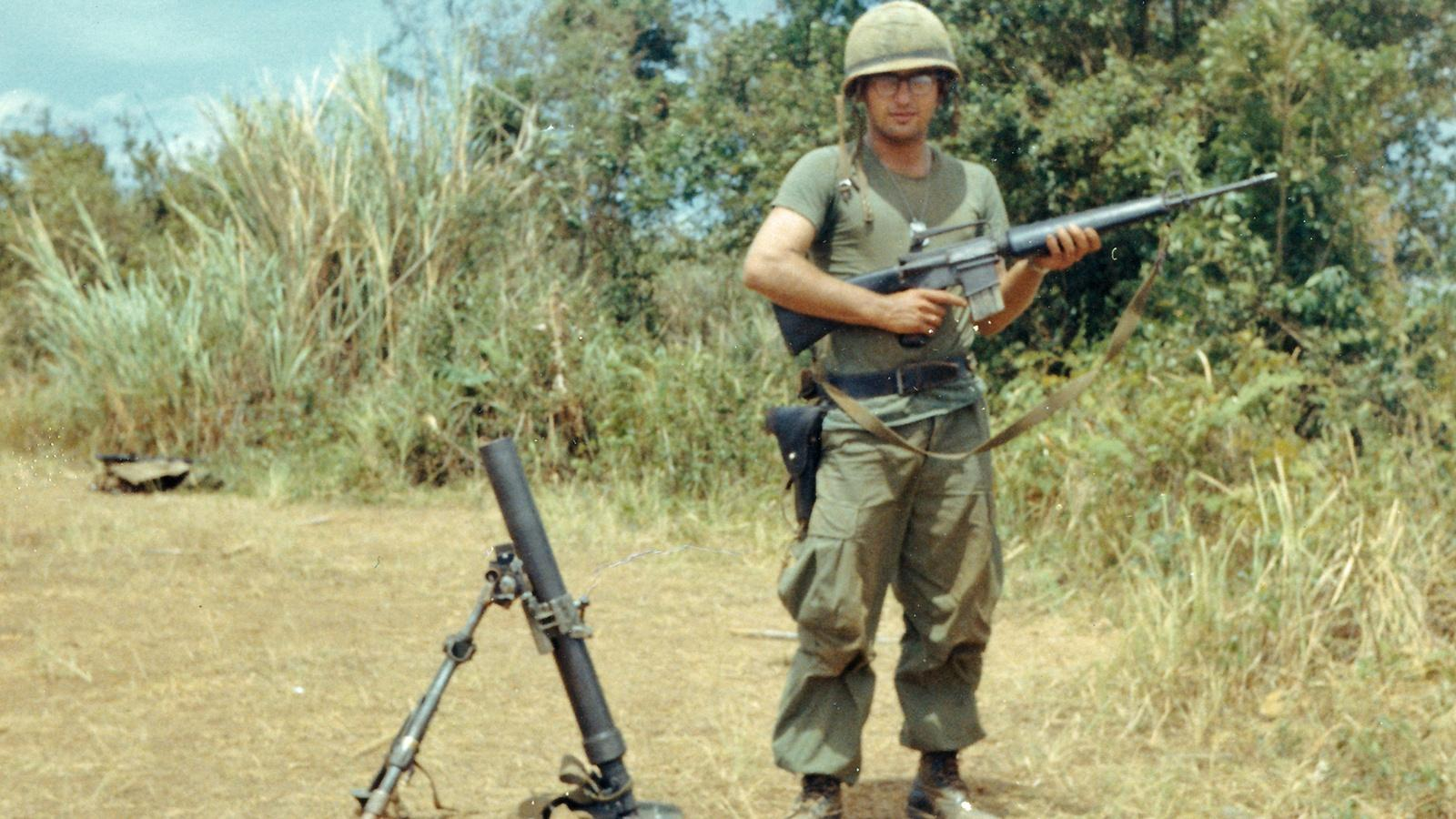 Sgt. Dominic Bilotta, at the young age of 20 years old, was in charge of about a dozen men in Vietnam.  His section handled 60mm mortars, rocket launchers and machine guns.