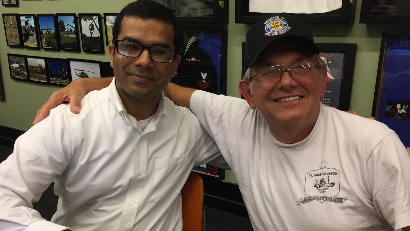 Thomas Chacko and Vietnam Veteran Joe Pasek pause for a photo op at the local VVA chapter headquarters.