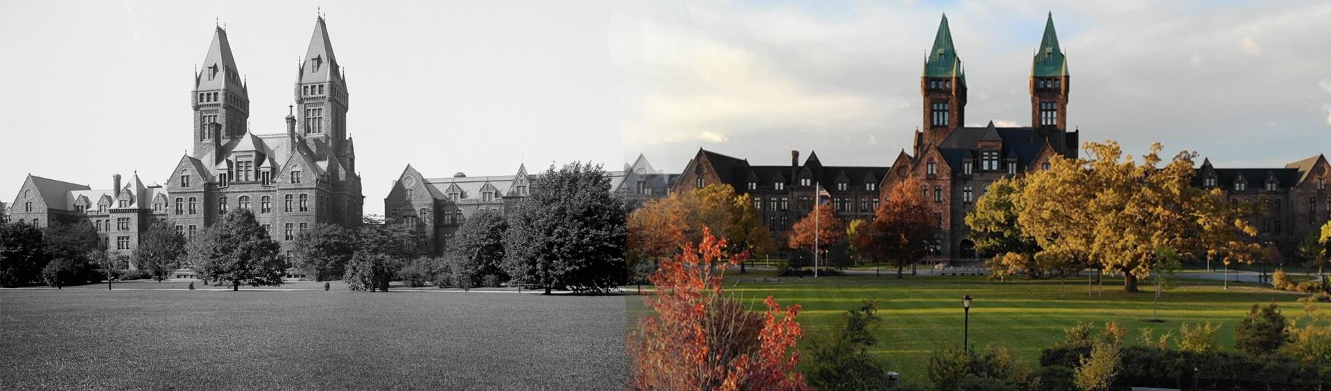 View of the Richardson Olmsted campus from the South Lawn B & W and present day