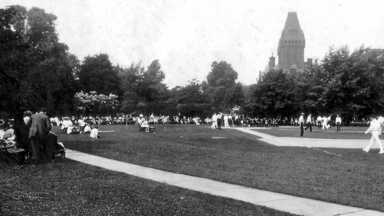 A game of baseball being played on the South Lawn