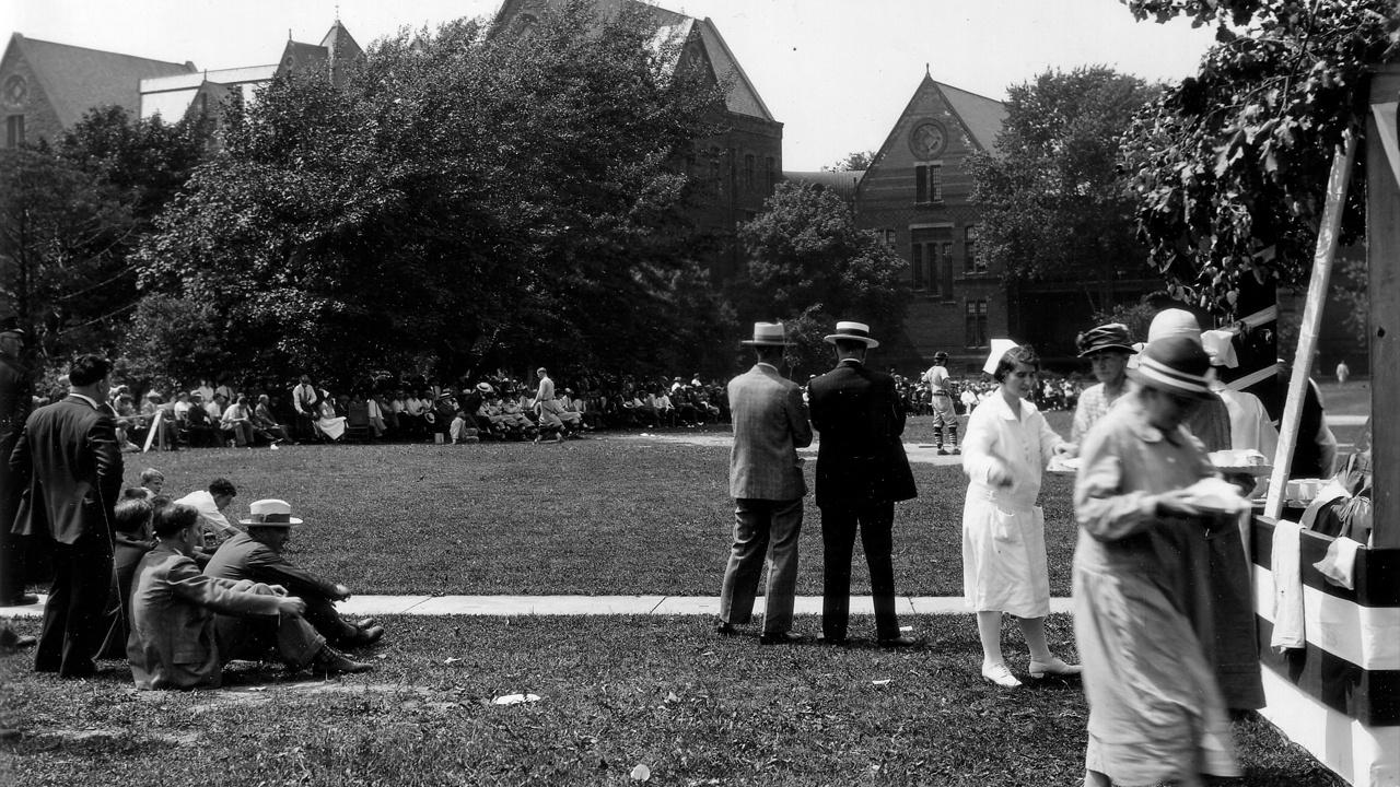 Patents and staff gather for a baseball game on the South Lawn