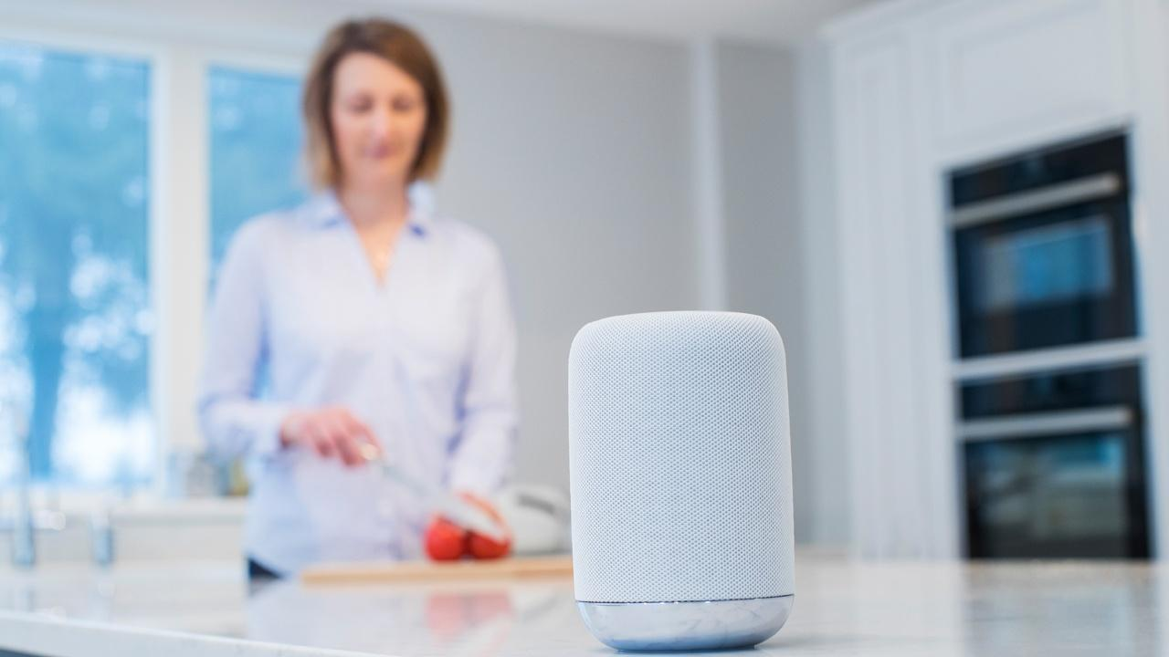 smart speaker in kitchen with woman chopping vegetables