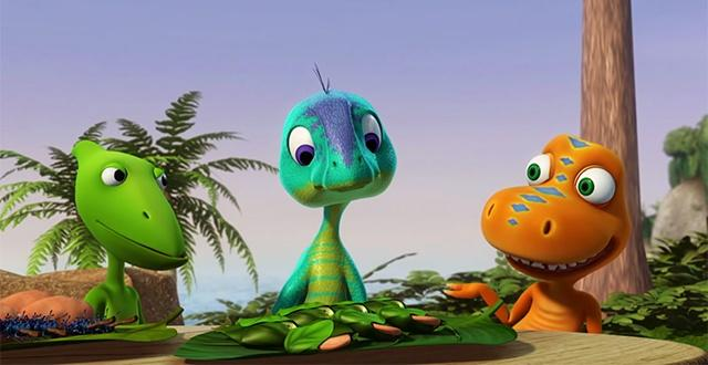 Dinosaur Train friends visit with Dennis, who is a dinosaur with special needs