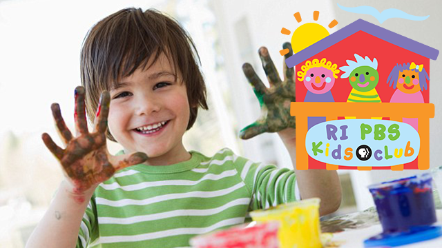 Rhode Island PBS Kids Club logo and child with fingerpaint.
