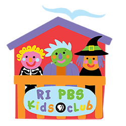 Rhode Island PBS Kids Club kids dressed in Halloween costumes sitting in the clubhouse