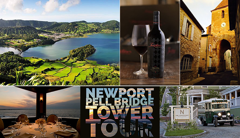 Azores, wine glass and wine bottle on table, French country house, dining setup overlooking water, Newport Pell Bridge Tower Tour logo, bus in front of building