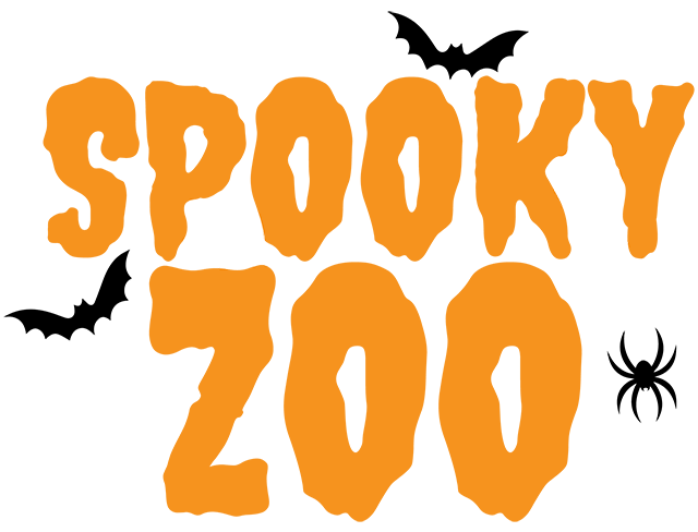 Orange Spooky Zoo text with black bats and a black spider.