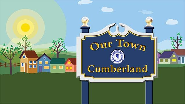 Our Town: Cumberland sign with Cumberland, RI town crest.