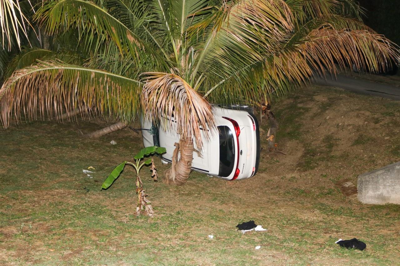 A 2019 Kia Sportage, reported stolen on July 4, crashed in Estate La Grange after a pursuit Friday evening. All four occupants were shot by police