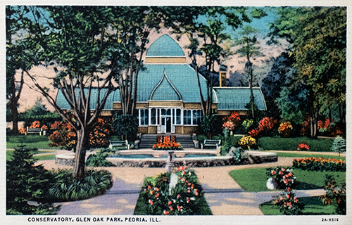 Water Color Postcard of the Conservatory, Glen Oak Park