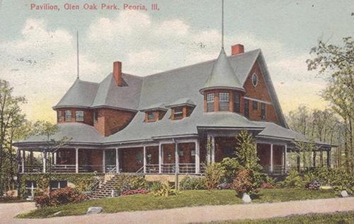 Water Color Postcard of the Pavilion, Glen Oak Park
