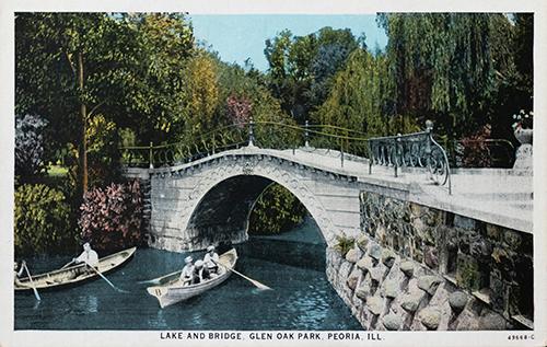 Water Color Postcard of the Lake and Bridge, Glean Oak Park