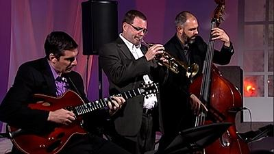 Todd Kelly, trumpet, is joined by Mark Tonelli, guitar, and Any Crawford, bass