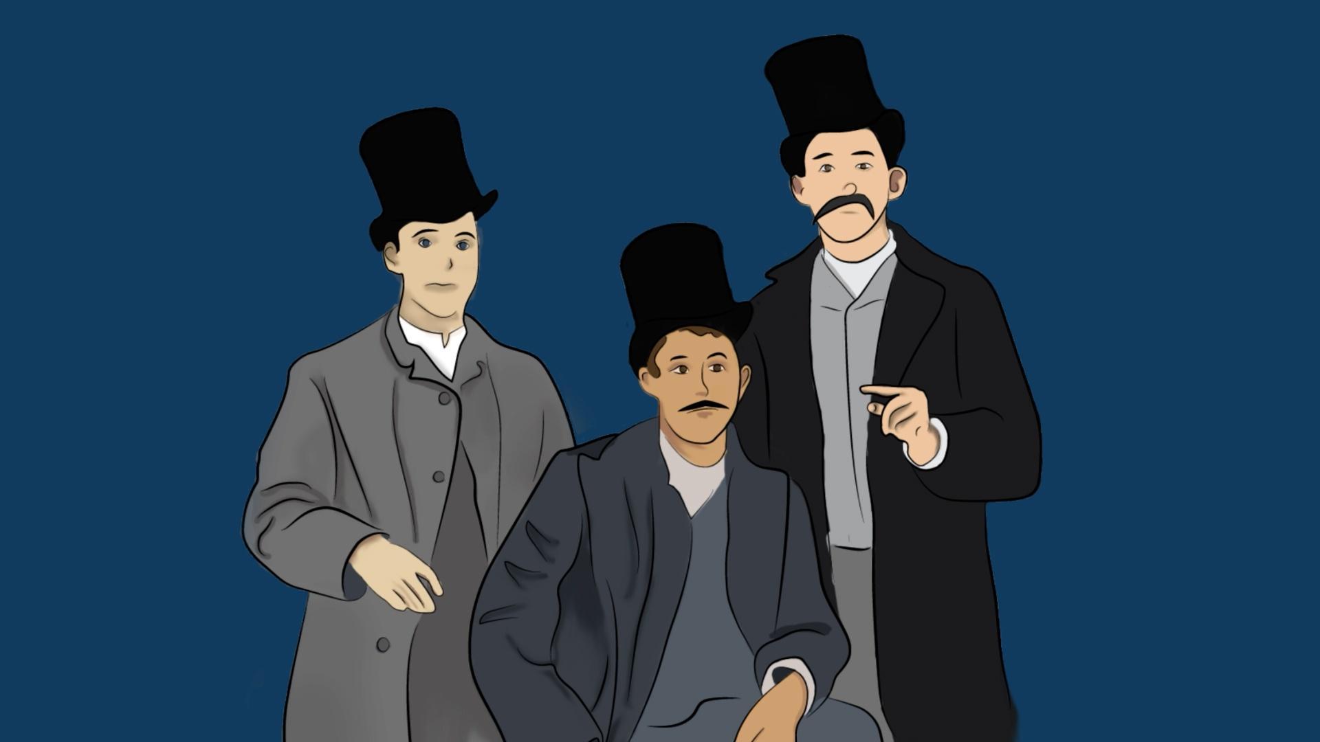 Three Gentleman in Top Hats